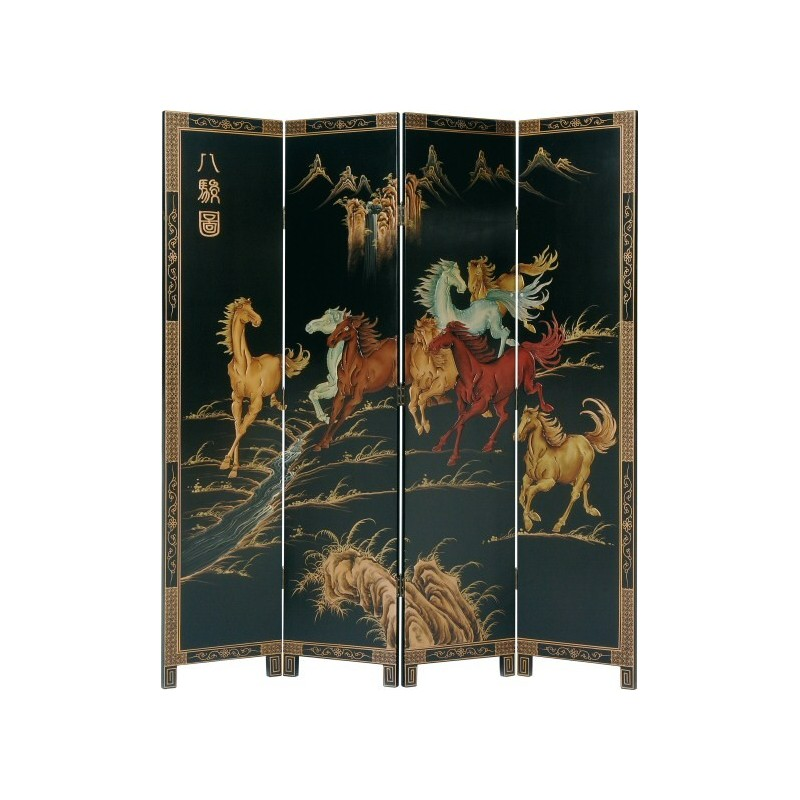 paravent chinois d cor chevaux meubles. Black Bedroom Furniture Sets. Home Design Ideas