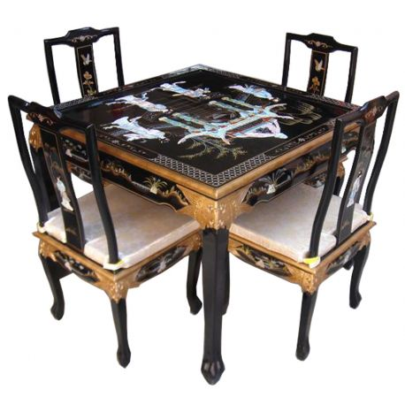 Table chinoise et 4 chaises meubles for Salle a manger chinoise