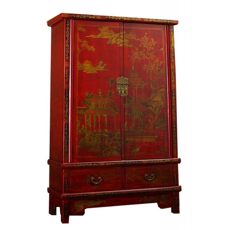 armoire fa on cuir rouge meubles. Black Bedroom Furniture Sets. Home Design Ideas