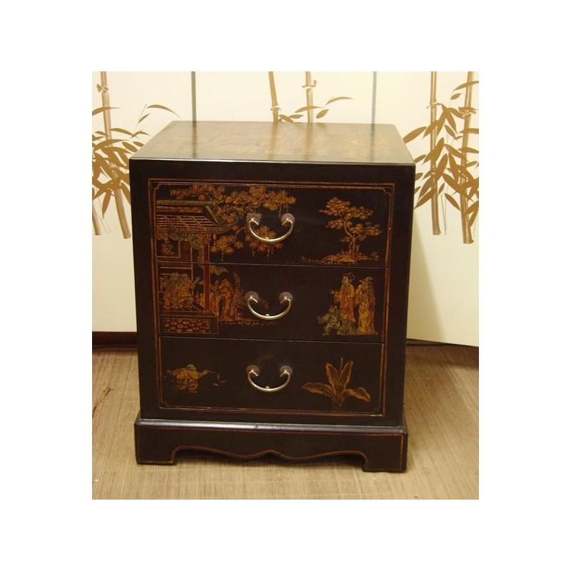 Meuble d 39 appoint 3 tiroirs meubles for Meuble tiroir cuir