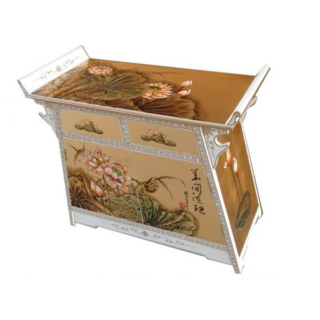 Buffet chinese lacquered temple with 2 doors and 1 drawers