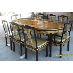 Table chinese dining room with 6 chairs and 2 armchairs
