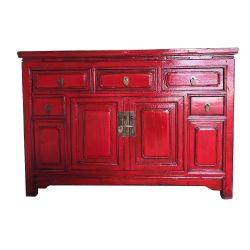 Weathered red Chinese sideboard Length 127cm