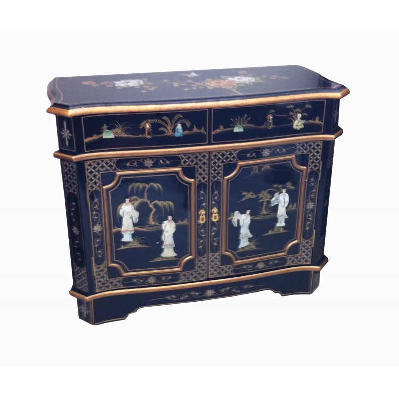 Buffet chinois laqu incrust meubles for Meuble buffet chinois