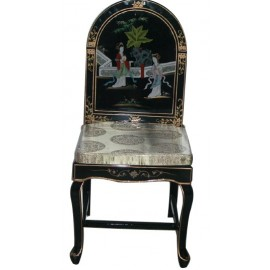 Chair, chinese lacquer rounded chair back