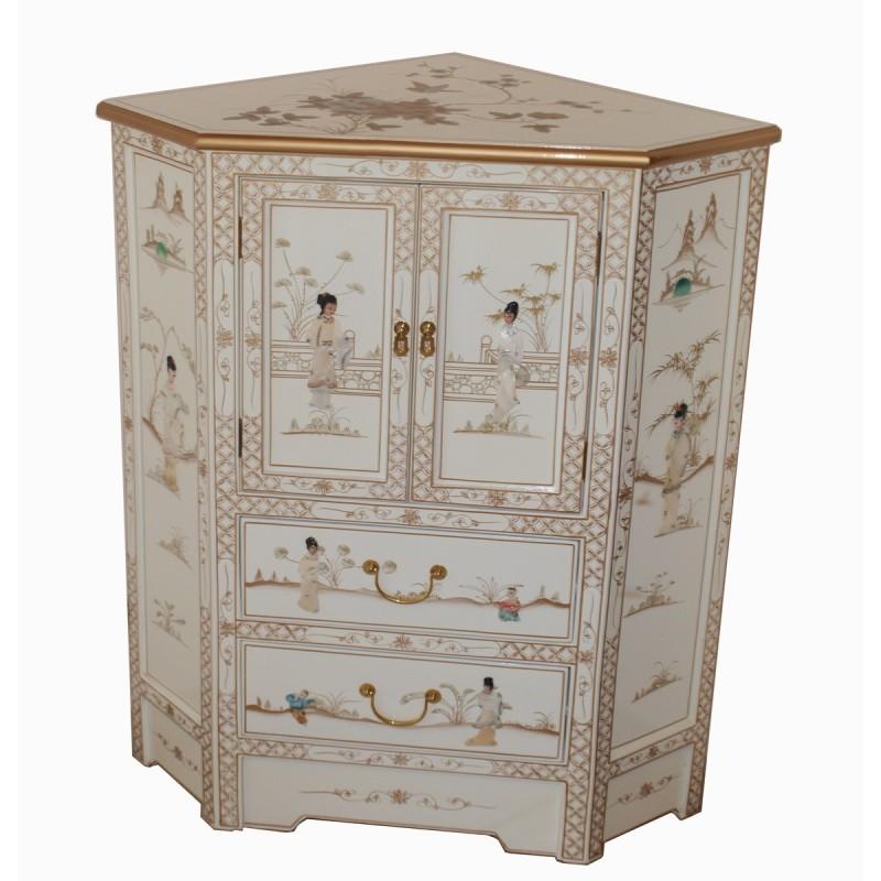 Meuble chinois d 39 angle 2 portes 3 tiroirs meubles for Meuble 2 portes