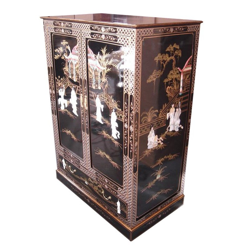 Meuble chinois t l vision laqu portes coulissantes for Commode japonaise
