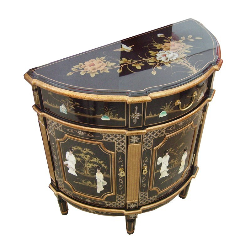 meuble chinois noir demi lune motifs oiseau grue meubles. Black Bedroom Furniture Sets. Home Design Ideas