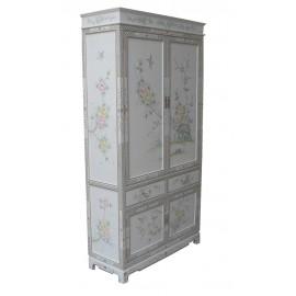 Armoire vaissellier blanc fleur et oiseaux