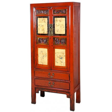 armoire chinoise rouge peinte meubles. Black Bedroom Furniture Sets. Home Design Ideas