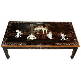 Living room Table black lacquer with inlay of mother-of-pearl