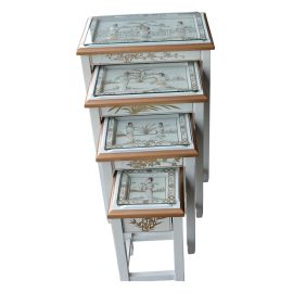 Nesting Tables with white inlaid mother-of-pearl