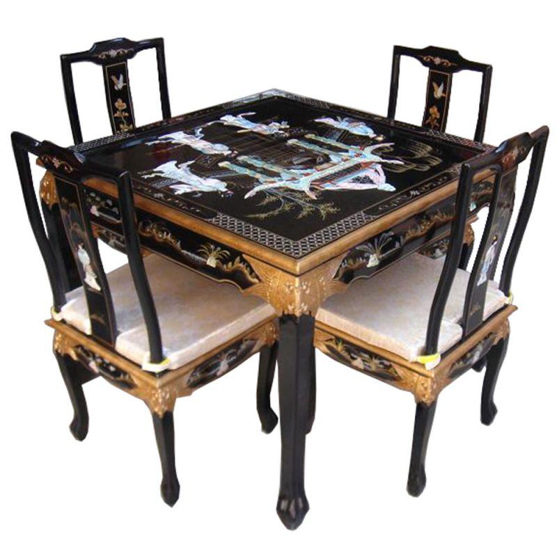 table chinoise et 4 chaises meubles. Black Bedroom Furniture Sets. Home Design Ideas