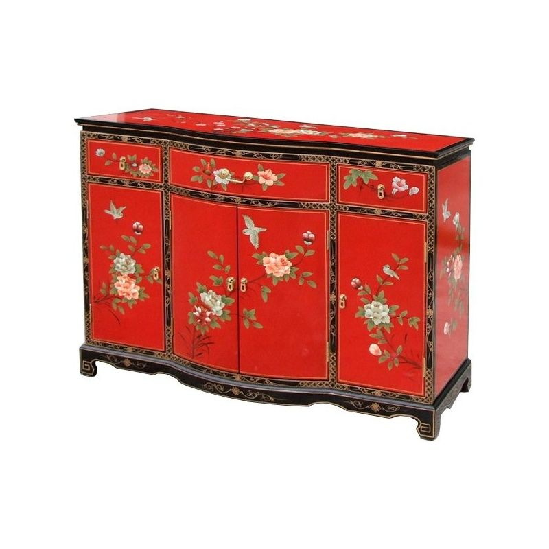 buffet chinois laqu rouge vif motifs fleurs et oiseaux meubles. Black Bedroom Furniture Sets. Home Design Ideas