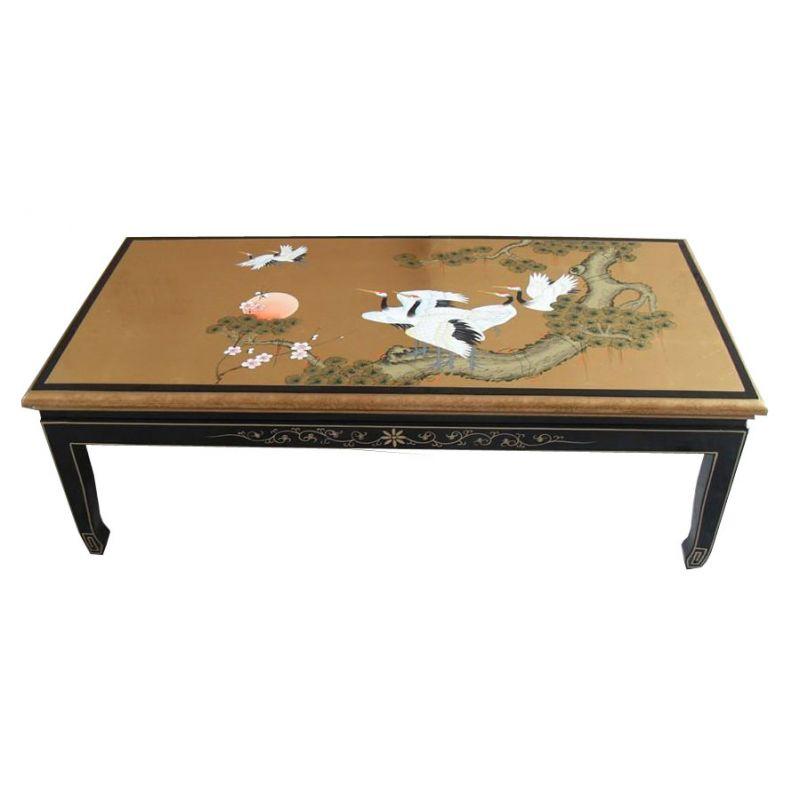 Table de salon laqu e noire avec incrustation de nacres - Table salon noire ...