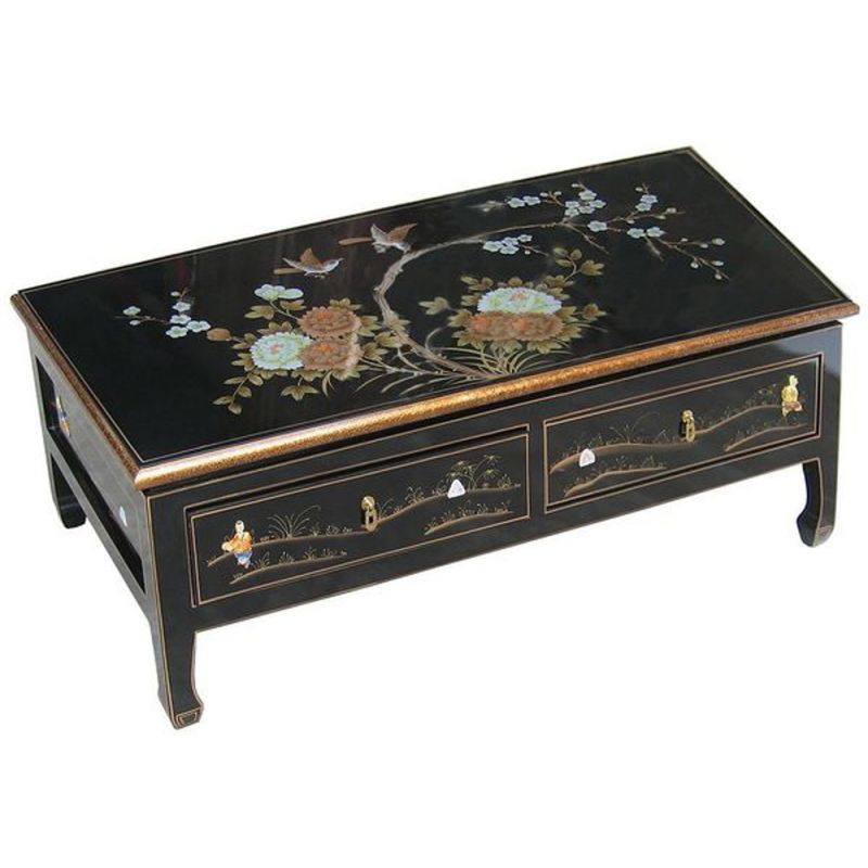 Table basse asiatique laqu e meubles - Table basse avec tabouret ...