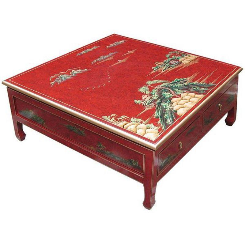Table de salon carr e 4 tiroirs meubles - Table de salon rouge ...
