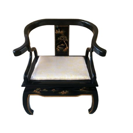 fauteuil fer cheval chinois laqu meubles. Black Bedroom Furniture Sets. Home Design Ideas