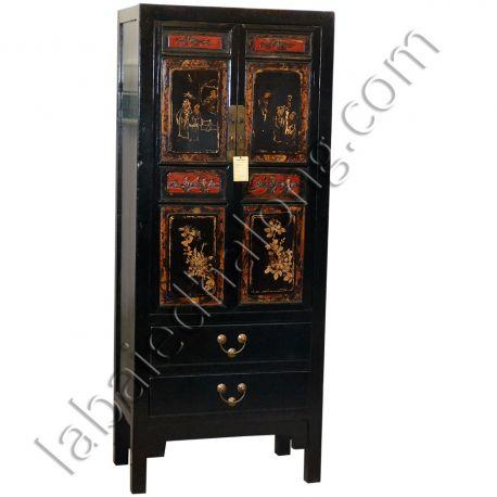 armoire chinoise noire peinte meubles. Black Bedroom Furniture Sets. Home Design Ideas