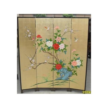 Folding screen lacquered 4 panels