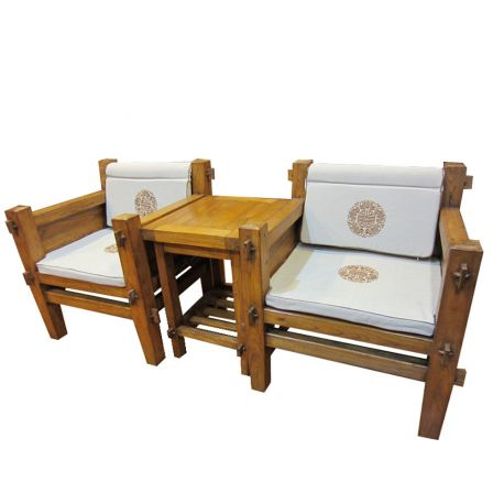Chairs and table carved viet