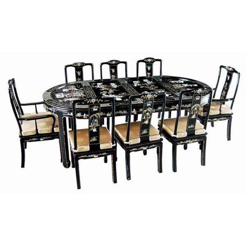 table chinoise de salle manger avec 6 chaises et 2. Black Bedroom Furniture Sets. Home Design Ideas