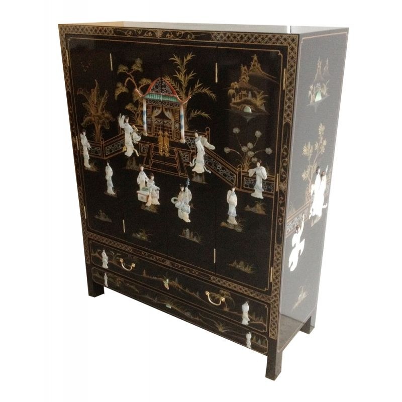 Chinese tv cabinet for Meuble classeur rideau