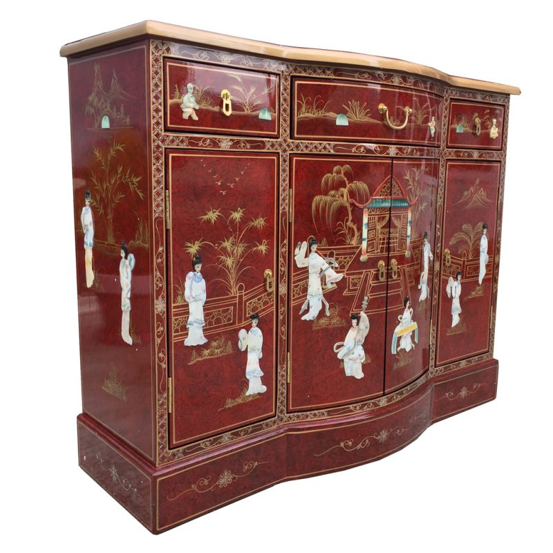 Buffet chinois rouge avec incrustations meubles for Meuble buffet chinois