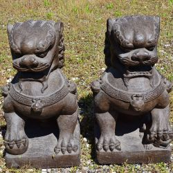 statues of a lion or dog of fu temple guardian
