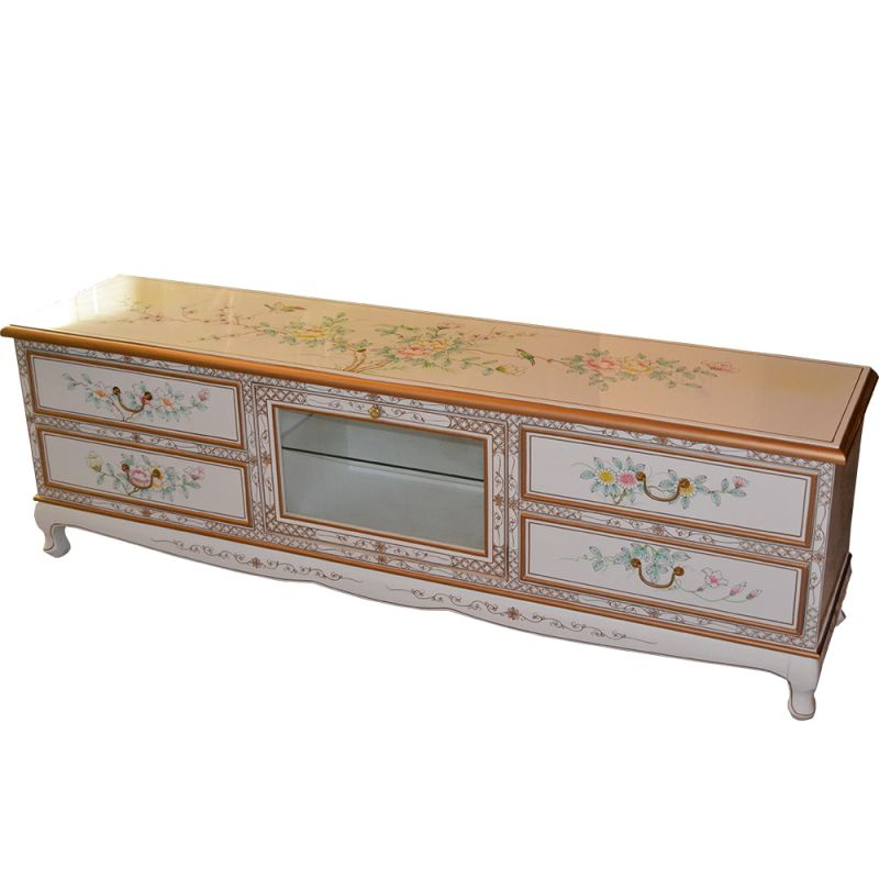 Furniture chinese tv white lacquered feurs and birds for Lacquered furniture