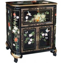 Bar chinese black lacquered flowers and birds
