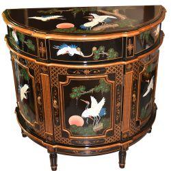 Meuble chinois noir demi-lune motifs oiseau grue