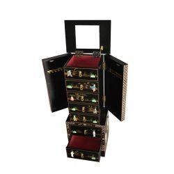 Meuble à bijoux laque noire incrustée