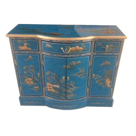 buffet chinois laqu bleu meubles. Black Bedroom Furniture Sets. Home Design Ideas