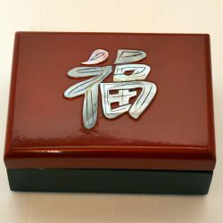 Jewelry box lacquer inlaid with kanji