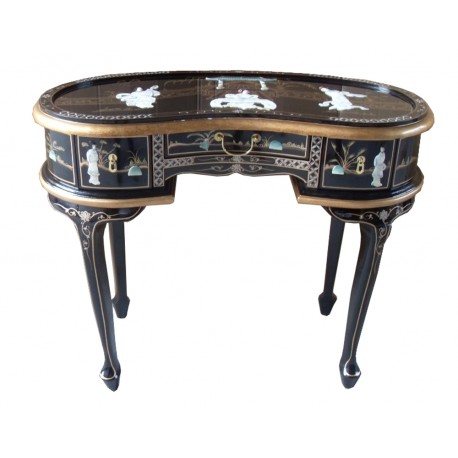 Office chinese lacquer or dressing table in the shape of a bean
