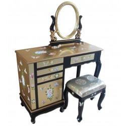 Coiffeuse chinoise laquée doré avec tabouret et miroir