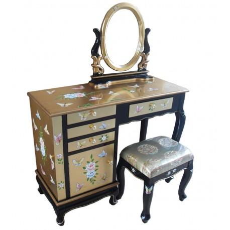 Coiffeuse chinoise laqu e dor avec tabouret et miroir for Meuble coiffeuse avec tabouret