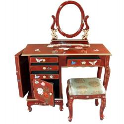 Coiffeuse chinoise laquée rouge avec tabouret et miroir
