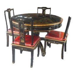 Table de salle à manger chinoise avec 4 chaises