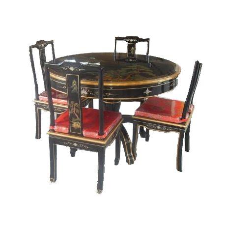 Table de salle manger chinoise avec 4 chaises meubles - Table de salle a manger avec chaises ...