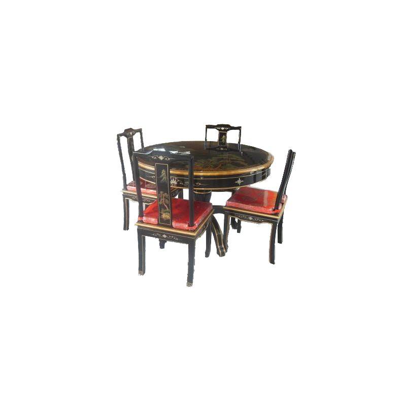 Table de salle manger chinoise avec 4 chaises meubles - Table salle a manger avec chaises ...