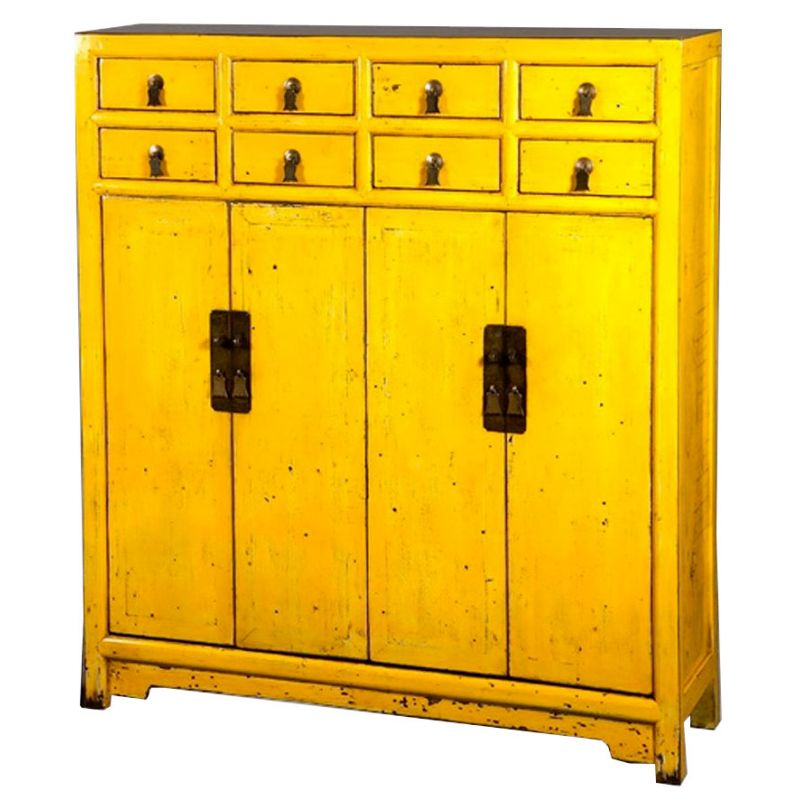 buffet chinois jaune 8 tiroirs 4 portes meubles. Black Bedroom Furniture Sets. Home Design Ideas