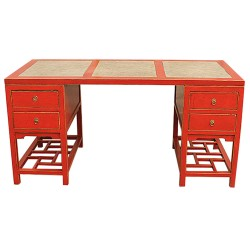 Bureau chinois rouge plateau marbre