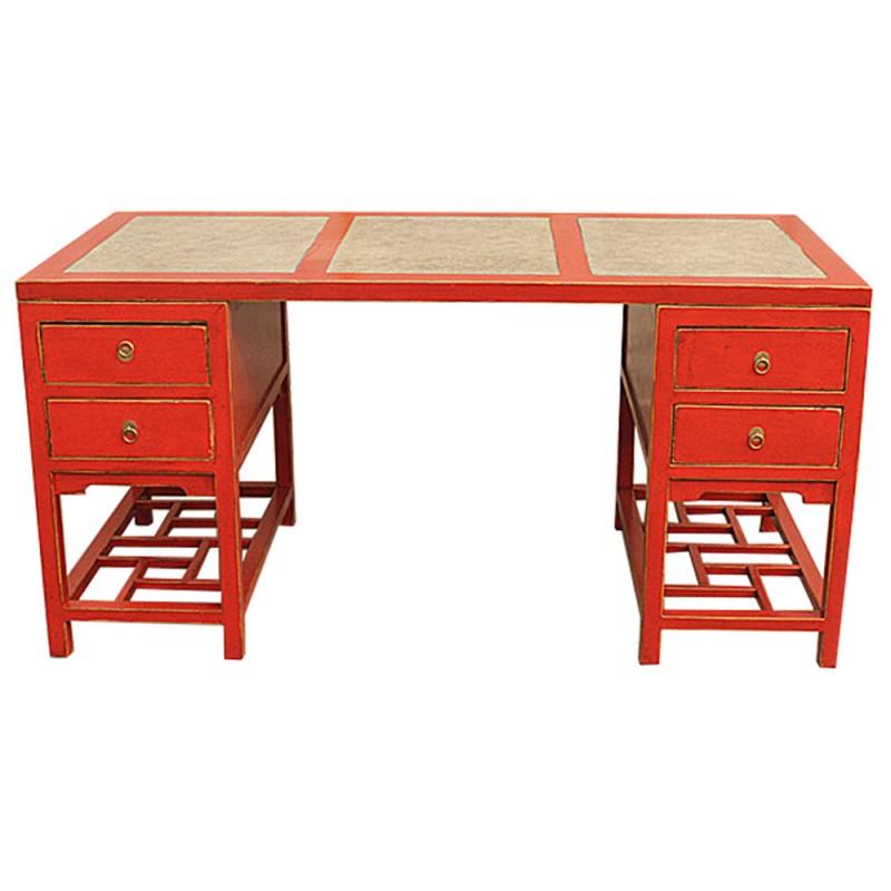bureau chinois rouge plateau marbre meubles. Black Bedroom Furniture Sets. Home Design Ideas