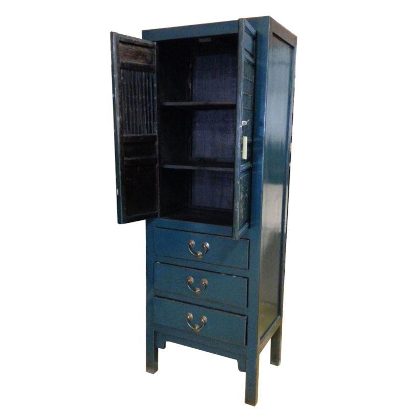 Armoire chinoise de cuisine bleue meubles for Dimension armoire de cuisine
