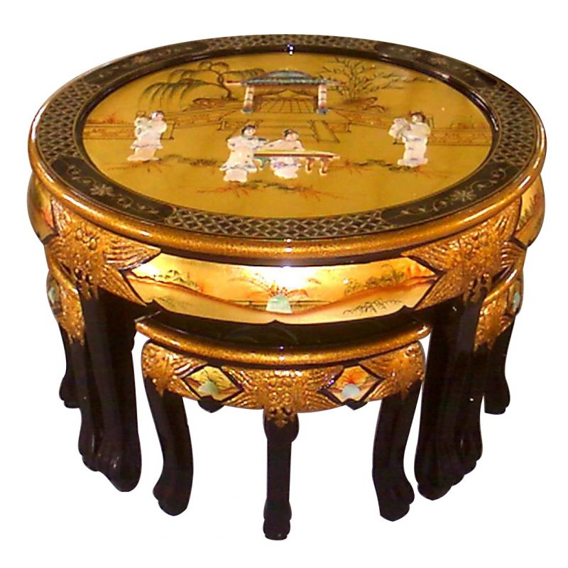 table chinoise de salon et 4 tabourets mordor nacre. Black Bedroom Furniture Sets. Home Design Ideas