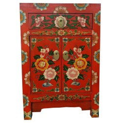 Bedside tibetan red painted