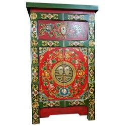 Meuble d'appoint tibétain motif fleurs