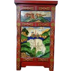 Meuble d'appoint tibétain motif éléphants et tigres